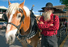 Carriage driver, John Stiles, with horse Tall Boy, Taos Plaza, Taos, NM