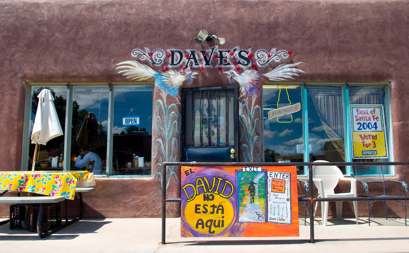 Dave's Not Here, restaurant, burgers, a local favorite, Hickox St., Santa Fe, New Mexico, USA.