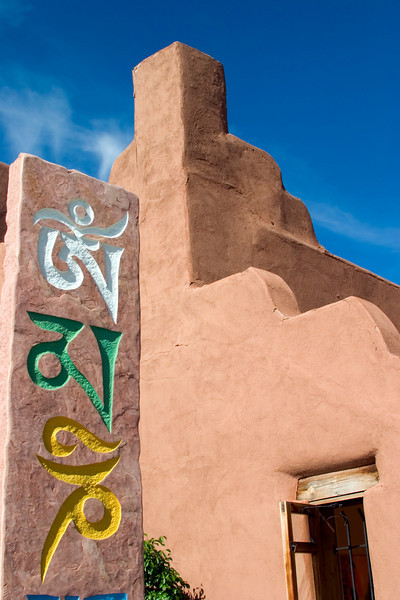 Tibetan totem with adobe architecture, Project Tibet, Canyon Road, Santa Fe, New Mexico