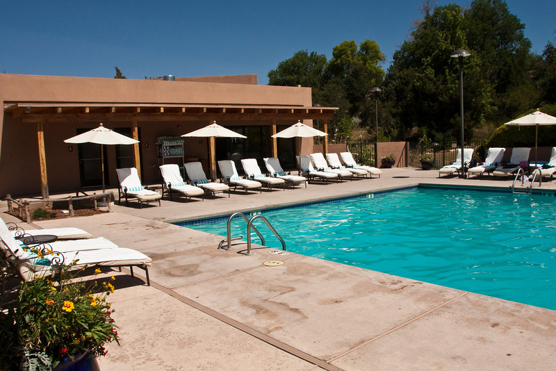 pool area, Bishop's Lodge Ranch Resort & Spa, Santa Fe, New Mexico, USA