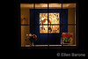 Gallery window at night, Canyon Road, Santa Fe, New Mexico.