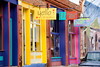 A colorful row of galleries along Yankie Street, a burgeoning arts district in historic downtown Silver City, New Mexico. USA