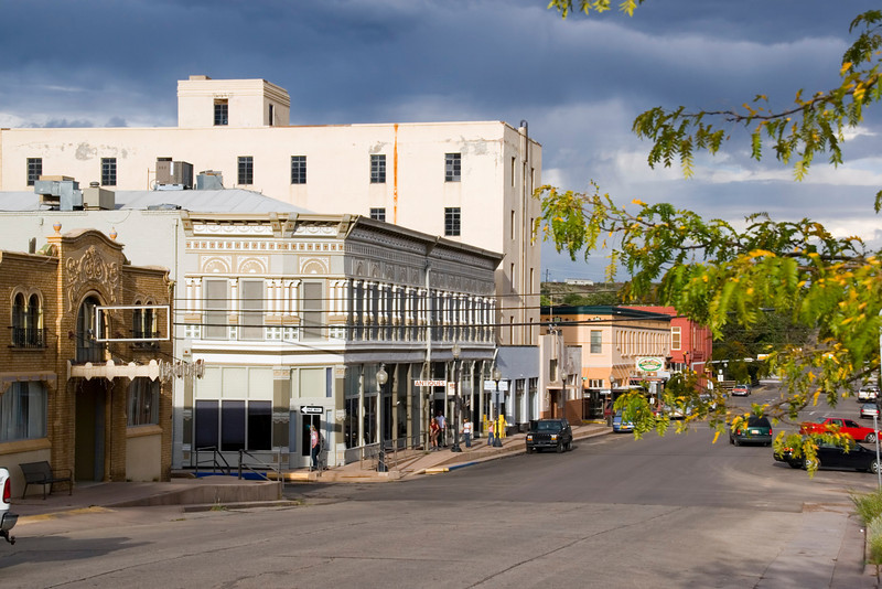 A view down Broadway, historic downtown Silver City, New Mexico. USA