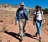 Wayfarers walk leaders, Monique Schustra and Tom Ribe, Chimney Rock trail,  Ghost Ranch, Abiquiu, New Mexico.