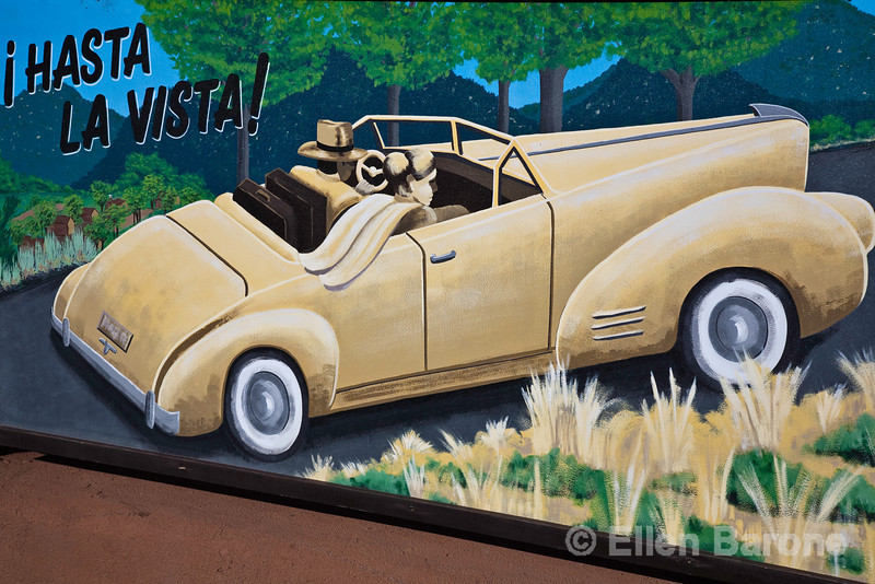 Wall mural, public art, Inn on Alameda, Santa Fe, New Mexico