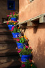 Blue flower pots on staircase, Canyon Road, Santa Fe, NM