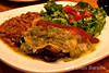 Portobello enchilada with green chile, Cafe Abiquiu, Abiquiu Inn, Abiquiu, New Mexico.