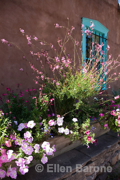 Flower boxes overflow with color, Canyon Road art gallery, Santa Fe, New Mexico