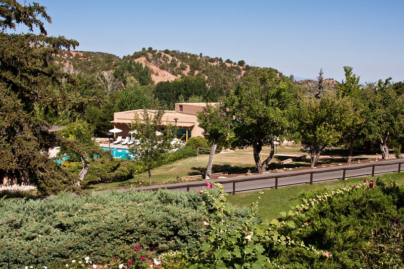 lush grounds and pool area, Bishop's Lodge Ranch Resort & Spa, Santa Fe, New Mexico, USA