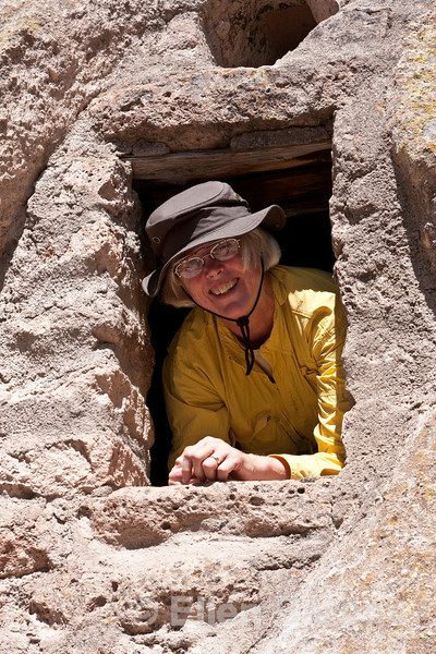 Wayfarer Ruth Wright-Piros, cliff dwellings, Bandelier National Monument, Jemez Mountains, New Mexico.