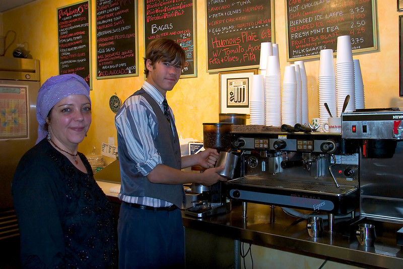 Friendly barista's, Tribes Coffeehouse, W. San Francisco St., Santa Fe, NM