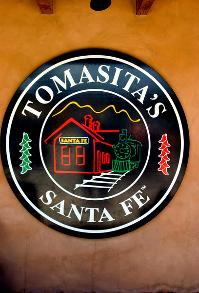 Signage, Tomasitas, Mexican restaurant, Guadalupe district, railyard, New Mexico, USA.