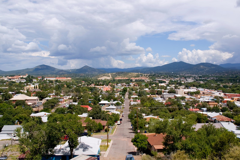 City overview with Gila National Forest in the far distance, Silver City, New Mexico, USA.