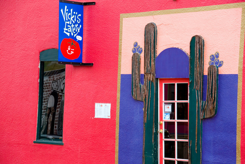 The colorful facade of Vicki's Eatery, a local favorite in the Yankie Street arts district, historic downtown Silver City, New Mexico. USA