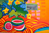 Public wall mural, Silver City Food Coop, Silver City, New Mexico, USA