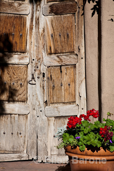 Antique doors and flower pot, Adobe Gallery, Canyon Road, Santa Fe, New Mexico