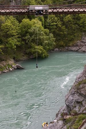 Bungy Jumping at Kawarau Bungy Center, the original bungy jumping site, Queenstown environs, South Island, New Zealand