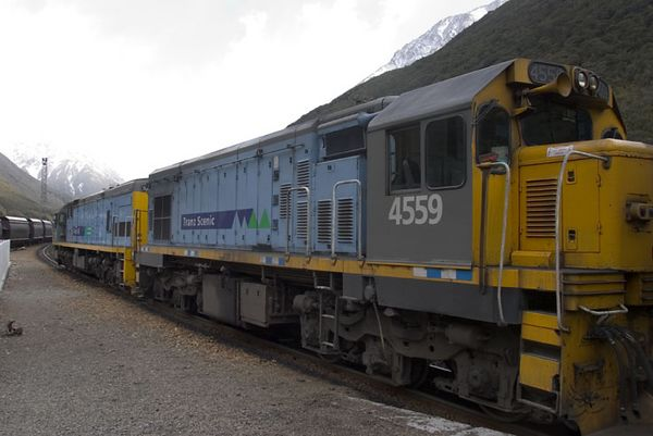 One of the country's most scenic rail trips, the TranzAlpine excursion train, Christchurch to Greymouth, South Island, New Zealand