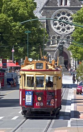A fleet of restored trams take passengers on a 2 mile city center route, Christchurch, South Island, New Zealand