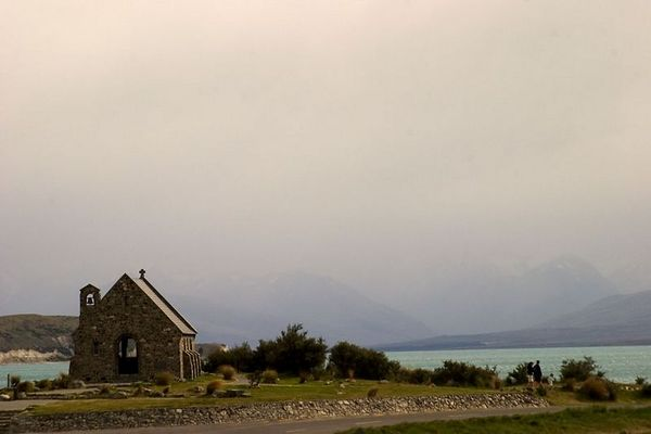 Overlooking Lake Tekapo is the Church of the Good Shepherd which was built with locally gathered stone, Mount Cook region, South Island, New Zealand