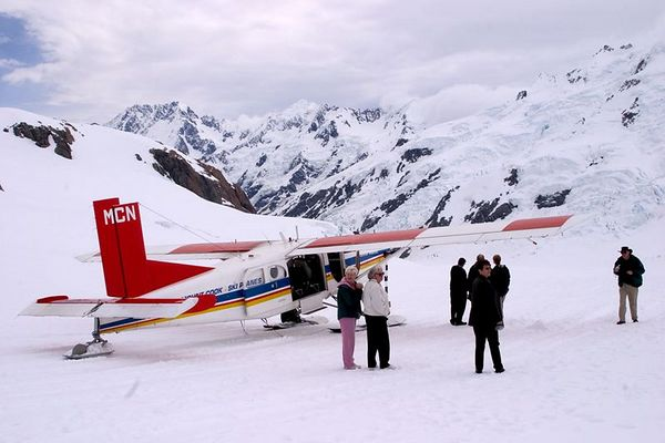 A scenic flight with Mount Cook Ski Planes includes a glacial landing, Mount Cook National Park, South Island, New Zealand