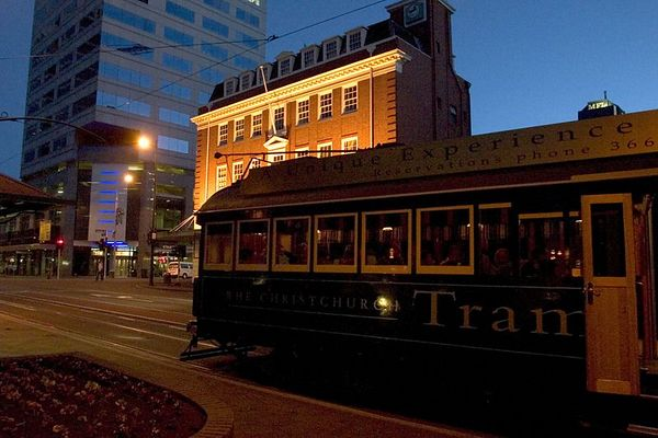 Each evening diners enjoy a delicious meal served aboard the Restaurant Tram, Christchurch, South Island, New Zealand