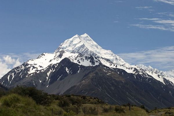 Mount Cook (12,249-ft) is the country's highest mountain. South Island, New Zealand