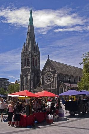 open air market, Cathedral Square, Christchurch, South Island, New Zealand