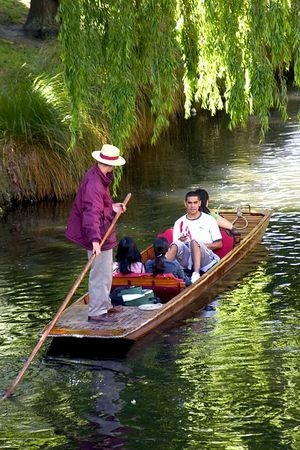 Punting on the Avon River, Christchurch, South Island, New Zealand