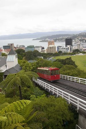 Cable Car climbing to the top of the Botanic Garden, Wellington, North Island, New Zealand