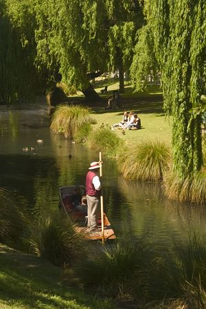Punting on the Avon River in Christchurch, South Island, New Zealand