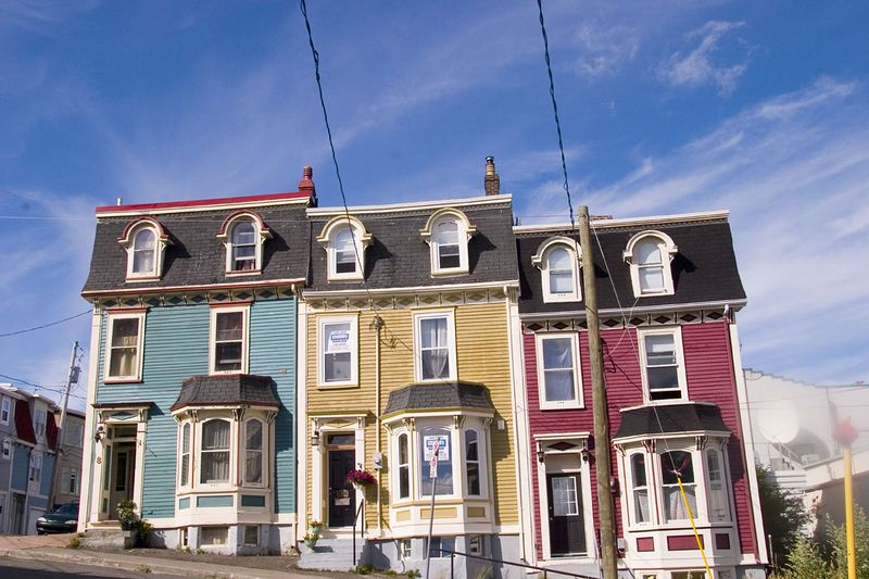 "colorful row of restored historic homes aptly nicknamed ""Jelly Bean Row"", St. John's,  Newfoundland, Canada"