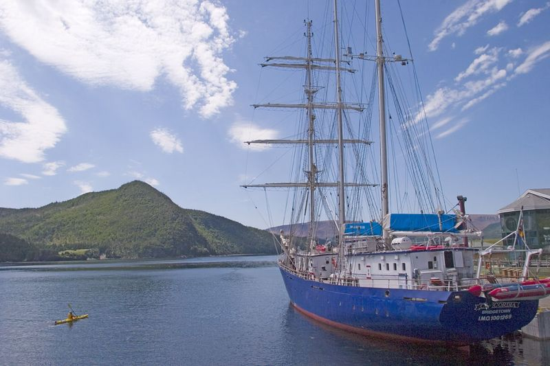 tall ship, educational vessel, Norris Point, Bonne Bay, Gros Morne National Park, UNESCO World Heritage Site, Viking Trail, western region, Newfoundland, Canada