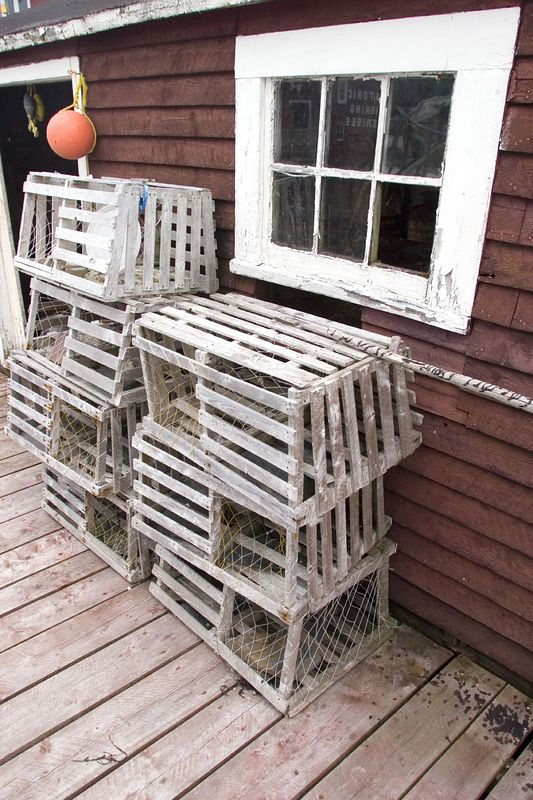 lobster traps, fishing stage, Prime Berth-Twillingate Fishing Museum, Durrell, Newfoundland, Canada