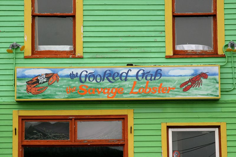 colorful restaurant sign, Crooked Crab Cafe, Water Street, St. John's, Newfoundland, Canada