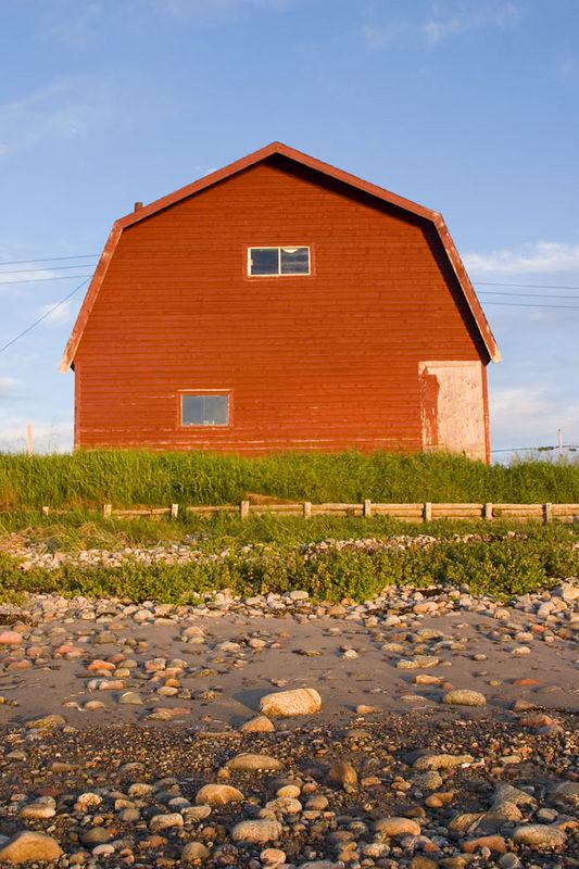 Red barn in warm light, Cow Head, Newfoundland, Canada