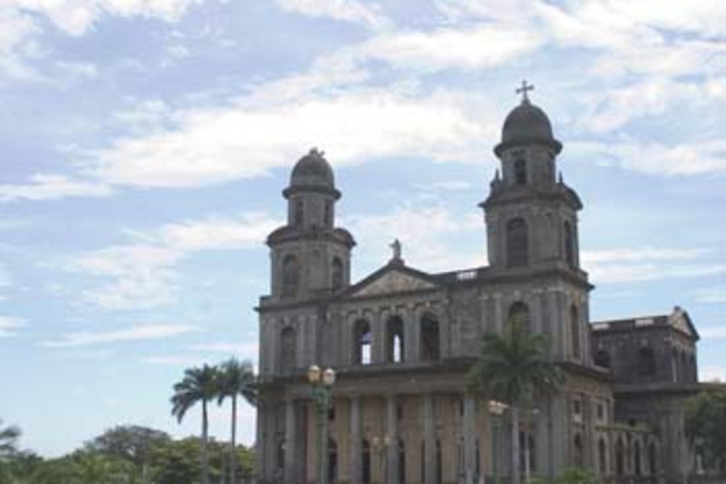 crumbling ruins of the 'old' Cathedral, Managua, Nicaragua, Central America