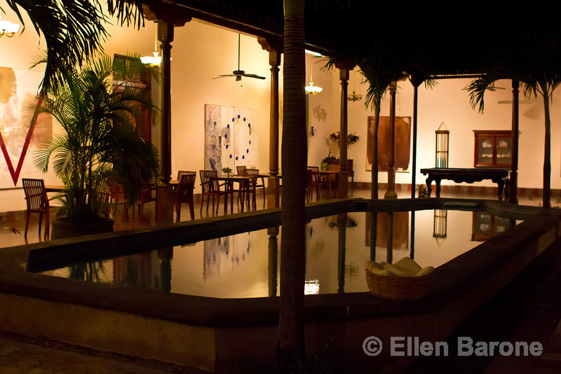Nighttime, pool area, Hotel la Bocona, an intimate six guest room boutique hotel in a restored colonial mansion in Granada, Nicaragua.