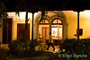 Nighttime, garden courtyard, Hotel la Bocona, an intimate six guest room boutique hotel in a restored colonial mansion in Granada, Nicaragua.