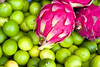 pitaya fruit with limes, street market, Granada, Nicaragua, Central America