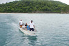 bringing guests to excursion boat, Argonauta, from Morgan's Rock Hacienda &  Eco-lodge, near San Juan del Sur, Pacific coast, Nicaragua, Central America
