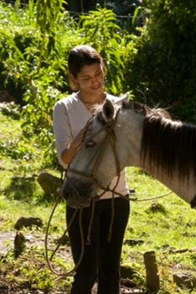 guest with horse, Selva Negra resort, Nicaragua, Central America