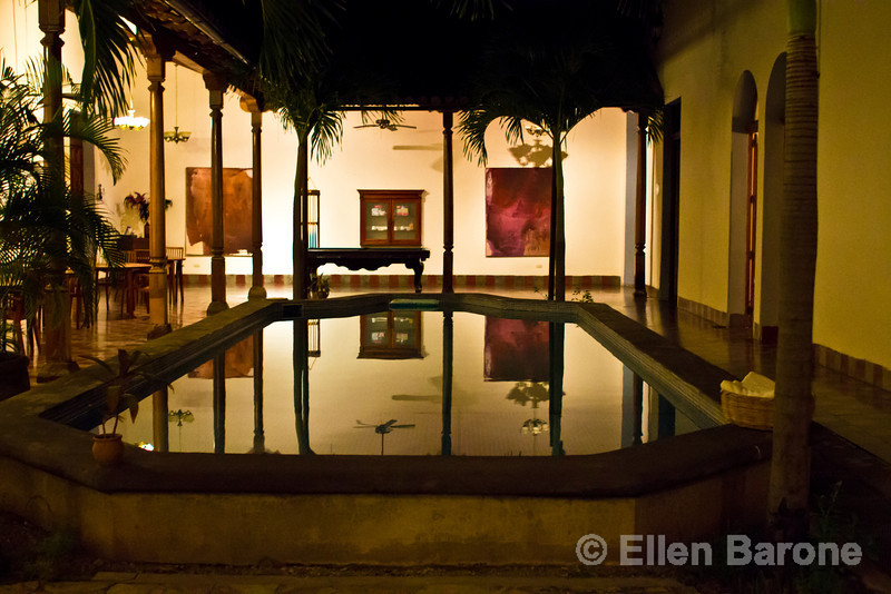 Nightime, pool area, Hotel la Bocona, an intimate six guest room boutique hotel in a restored colonial mansion in Granada, Nicaragua.
