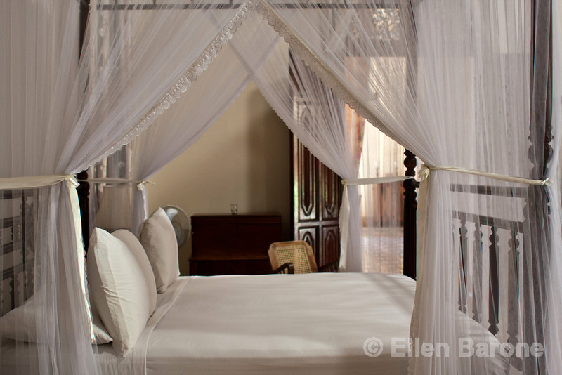 Guest bed, Hotel la Bocona, an intimate six guest room boutique hotel in a restored colonial mansion in Granada, Nicaragua.