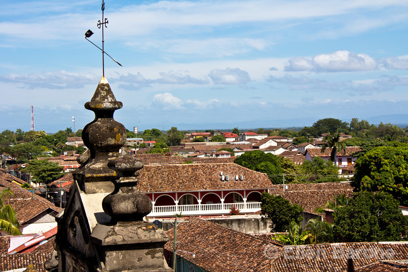 City scenes, red tile roofs, Granada, Nicaragua.