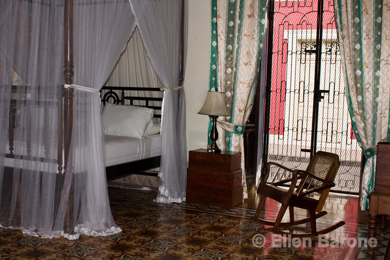 Guest room, Hotel la Bocona, an intimate six guest room boutique hotel in a restored colonial mansion in Granada, Nicaragua.