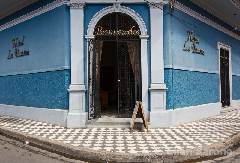 Entrance, Hotel la Bocona, an intimate six guest room boutique hotel in a restored colonial mansion in Granada, Nicaragua.