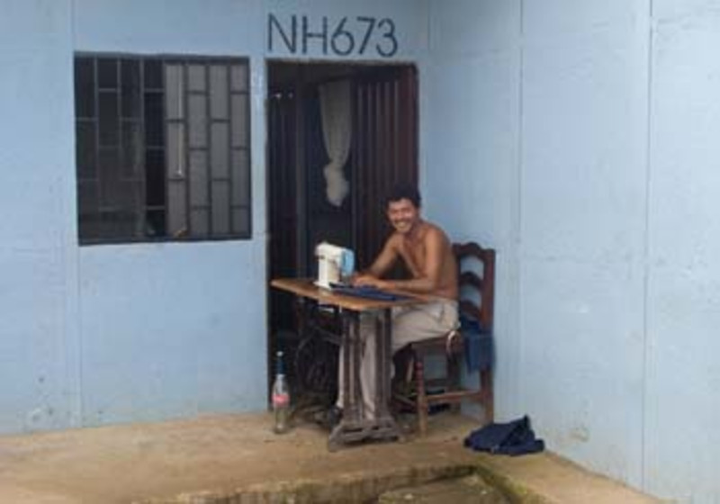 man with sewing machine, near Leon, Nicaragua, Central America