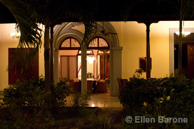 Nighttime garden courtyard, Hotel la Bocona, an intimate six guest room boutique hotel in a restored colonial mansion in Granada, Nicaragua.