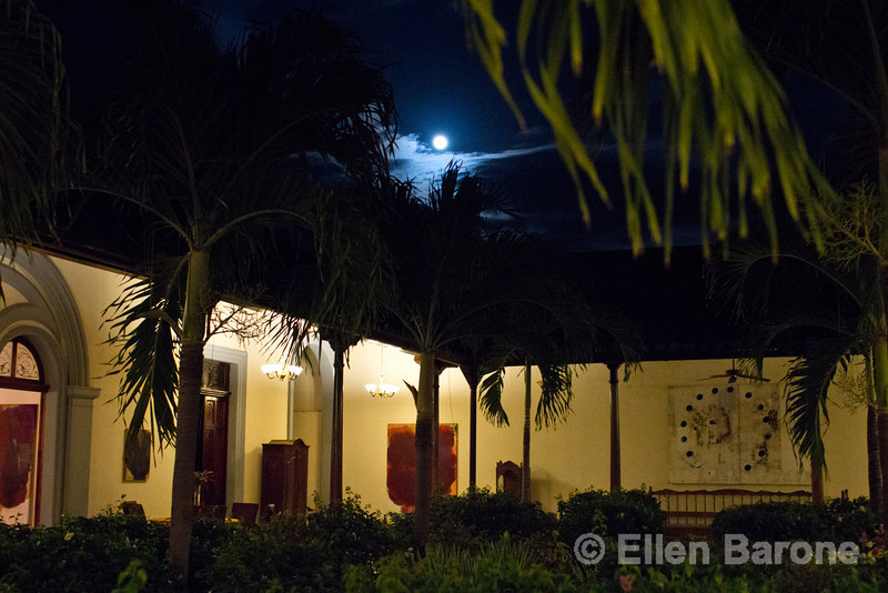 Full moon as viewed from garden courtyard, Hotel la Bocona, an intimate six guest room boutique hotel in a restored colonial mansion in Granada, Nicaragua.